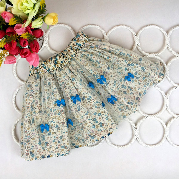 Hot 2-7Y Baby Kids Girls Bow Floral Pompon Layered Skirt Floral Tulle Tutu Skirt Free Shipping