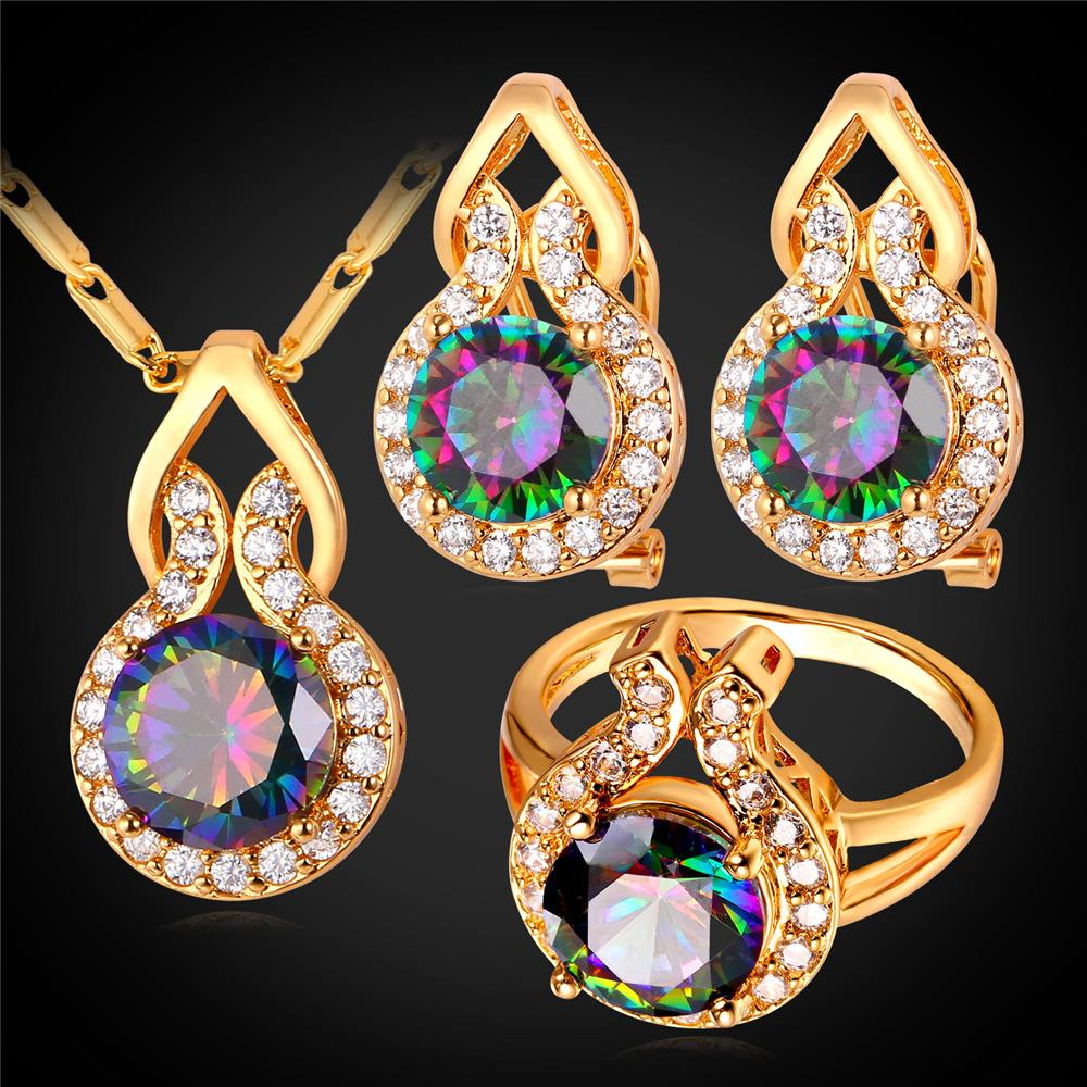 Gold Plated Big Austrian Crystal Wedding Jewelry Sets 2016 New Fashion Wedding Bands Ring Earrings Necklace Set For Women IS1790(China (Mainland))