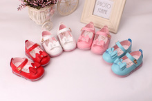 The new spring 2016 square opening female children's shoes Bowknot is han edition baby shoes 4 color free shipping(China (Mainland))