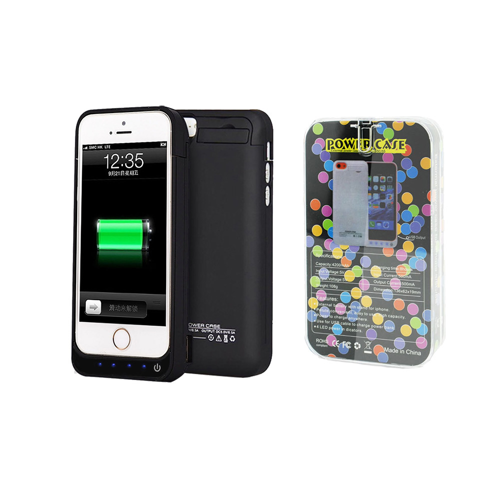 New arrival 4200mAh External Backup Charger Power bank Rechargeable Battery Case for iPhone 5/5S free shipping(China (Mainland))