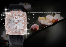 Diamond Rhinestone Big Dial GoGoey Brand Popular Watch Women Luxury Party Fashion Casual Quartz Leather Wristwatch