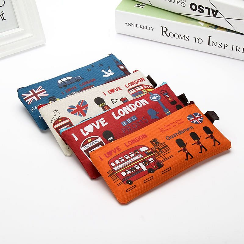 London style Pencil Pen Case Cosmetic Makeup Bag Pouch Holder Women Cosmetic Bags Fresh purse zipper Coin case Free Shipping(China (Mainland))