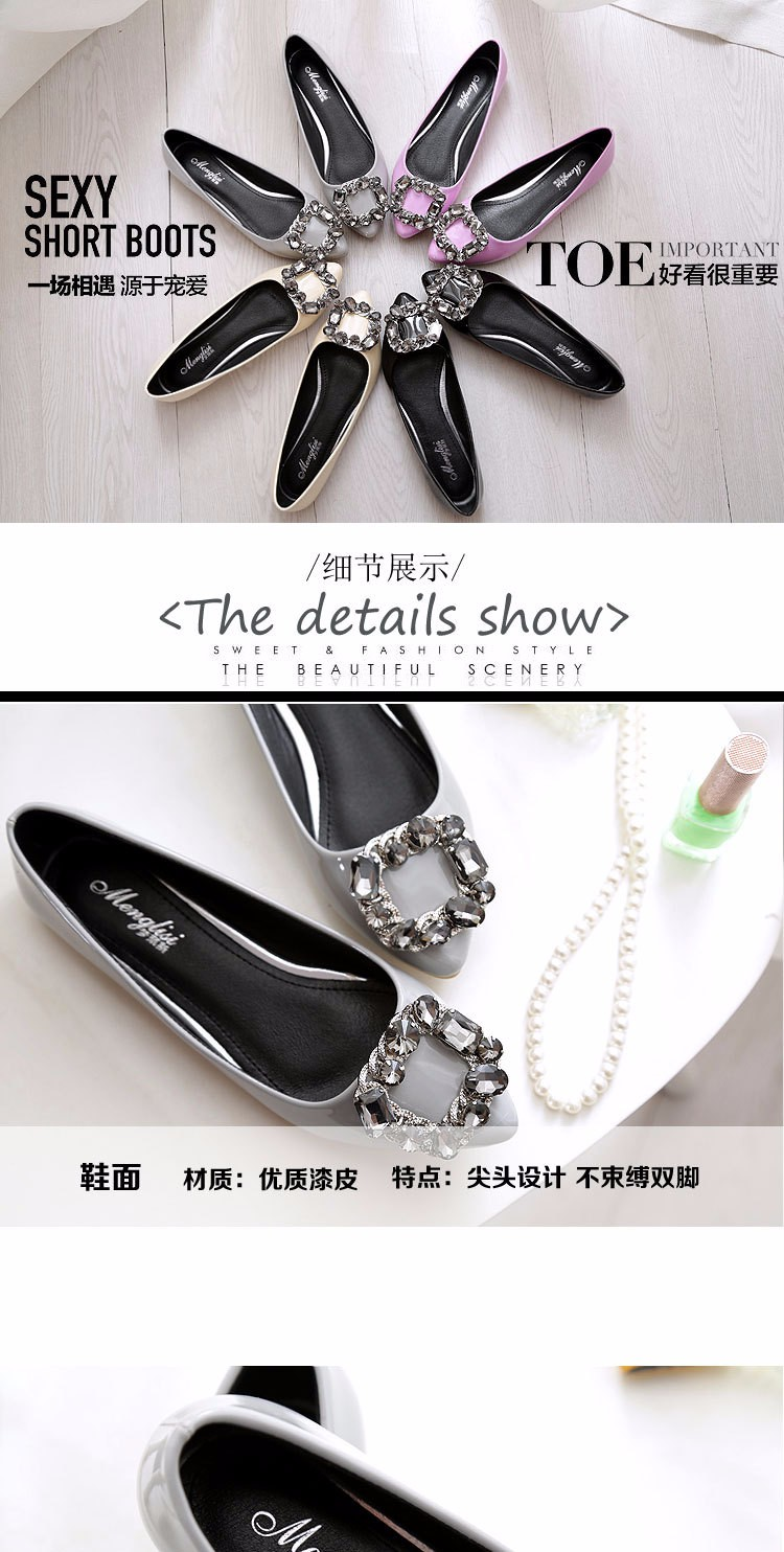 New 2016 Women Spring Shoes Square toe Diamond Buckle Low Heel Pump Female Single Shoes Lady Shoes Large Size 40-45 z3.5