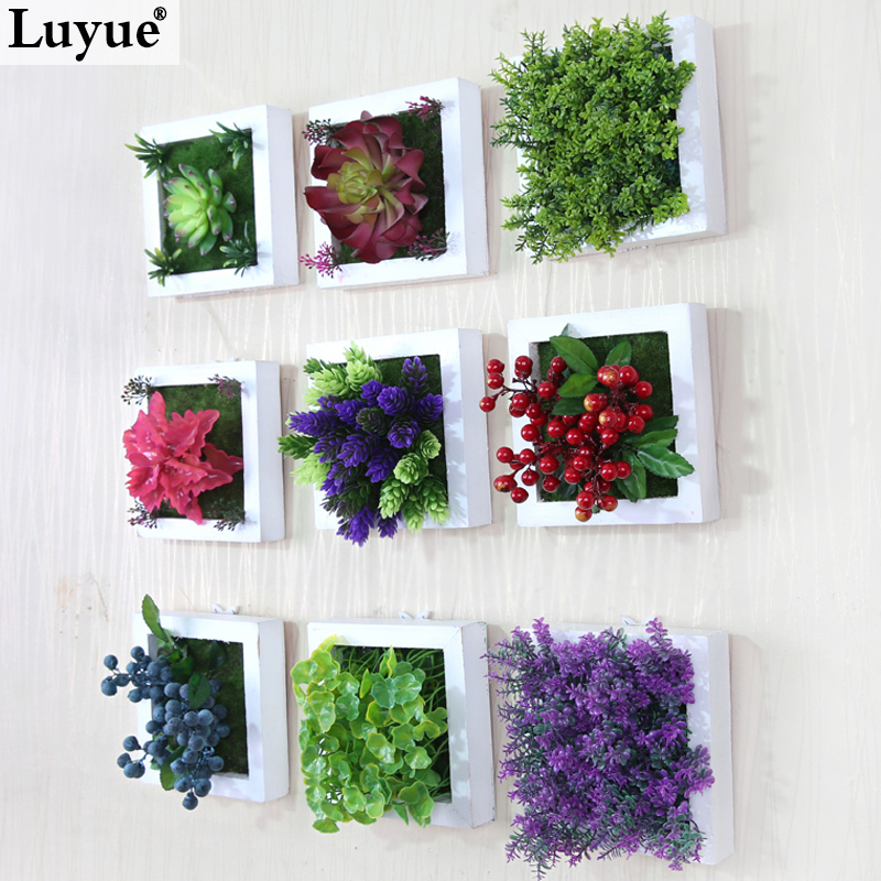 New 3d Creative Metope Succulent Plants Imitation Wood Photo Frame Wall Decoration Artificial