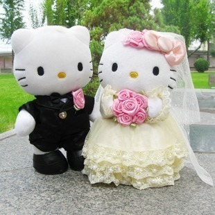 On sale wedding couple gifts HELLO KITTY plush toy KT cat stuffed doll birthday gift 20cm 1pair(China (Mainland))