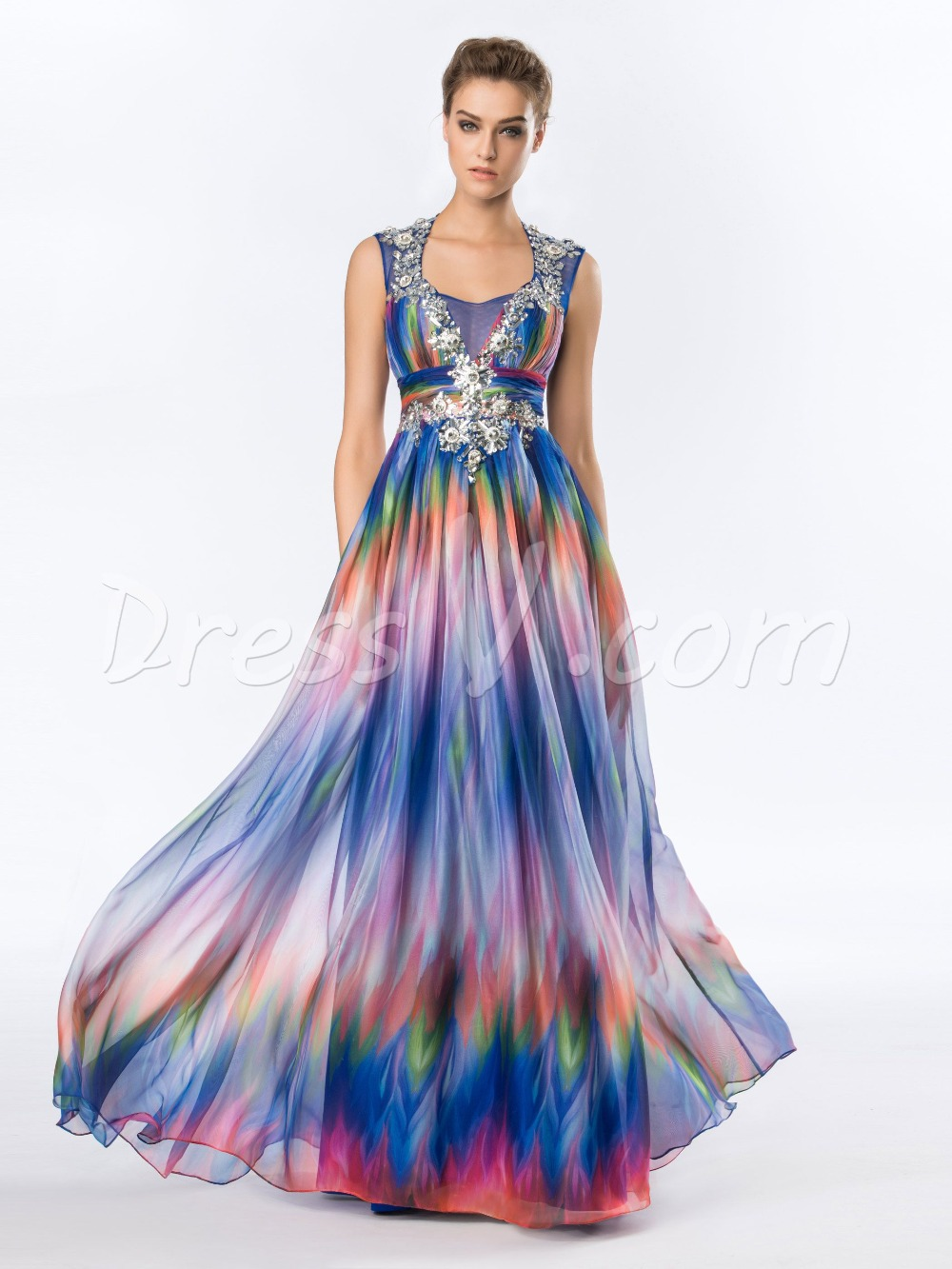 multi color pattern print long prom dress a line crystal rhinestone summer maxi dresses evening. Black Bedroom Furniture Sets. Home Design Ideas