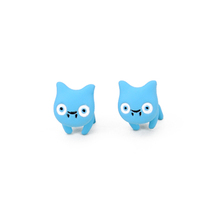 Fashion Stud Earrings The 2015 New Vintage Red White Blue Yellow Pink Green Black 3D Stereoscopic Cute Cats Earrings for Women(China (Mainland))