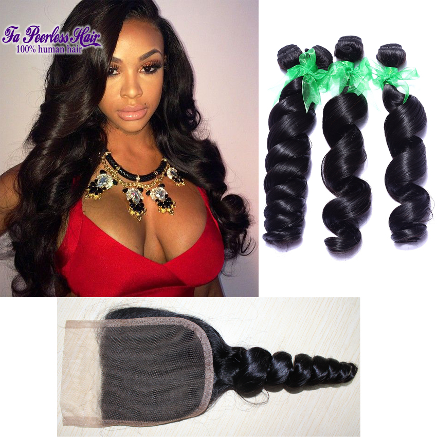 Peruvian Virgin Loose Wave Hair With Closure Grade 7A Unprocessed Virgin Hair 4 Bundles With Closure Black Puruvian Hair Bundles