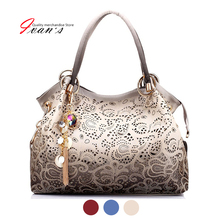 Brand New designer handbag female PU leather hollow out bags handbags color gradient tassel bag ladies portable shoulder bag