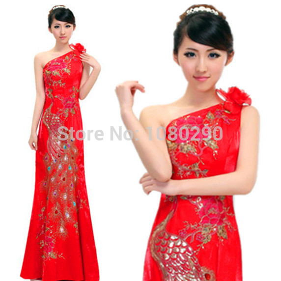 Floor Length Red Chinese Traditional Wedding Dress Womens Sexy One Shoulder Phoenix Embroidery Red Long Cheongsam Qipao DressОдежда и ак�е��уары<br><br><br>Aliexpress