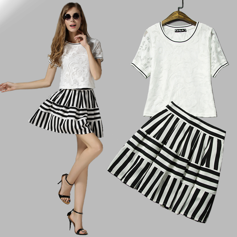 486 2015 lace top summer striped skirt crop top and skirt set clothing sets for summer 2