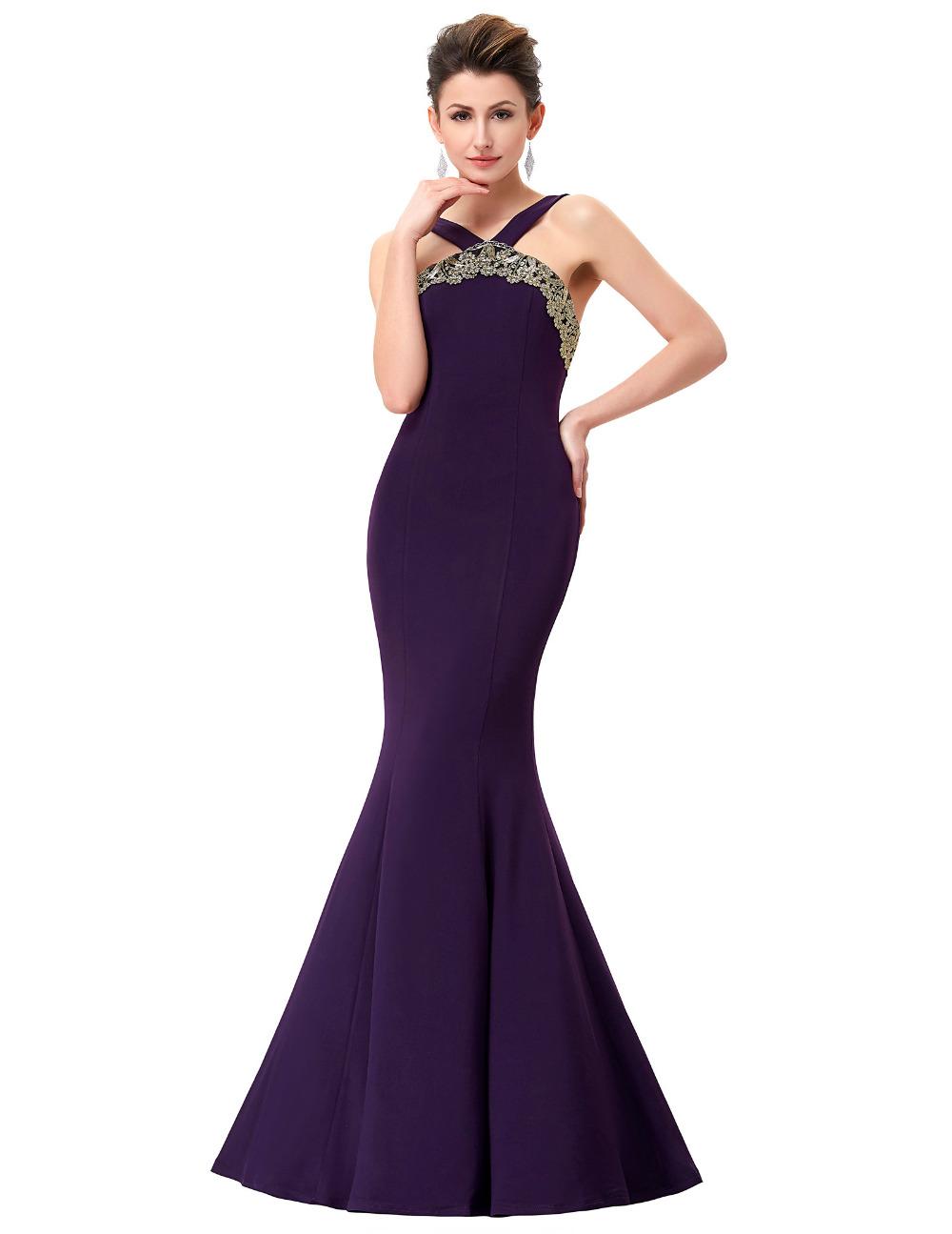 2016 Backless Purple Mermaid Evening Gowns Elegant Women Bandage Backless Formal Dress Long Evening Prom Dresses 0058(China (Mainland))