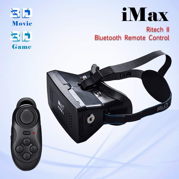 2015 RITECH II Professional Head Mount Version 3D Movies Games Virtual Reality Glasses Google Cardboard +Original Remote Control(China (Mainland))