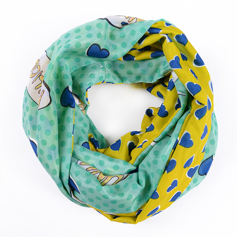 Free Shipping 2015 New Cute Kid/Children Pink Green Color Love Heart Print Infinity Scarf Loop For Girls(China (Mainland))