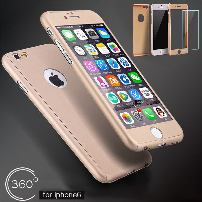 New Full 360 degree of Logo Hard Protective Case Buy One Get One Movie Screen Protector for iPhone 6 6S Plus(China (Mainland))