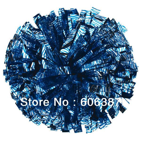 "cheerleading Pom poms 3/4""x 6""~zebra blue on metallic silver new hot sale mini order 10 pieces(China (Mainland))"