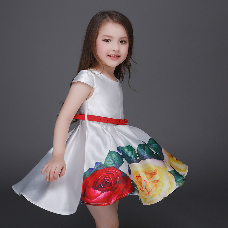 100-160cm girls summer dress floral boutique rustic flower girl dresses children ball gowns white kids clothing spring dress 34(China (Mainland))