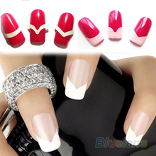 New 2Pcs Chic DIY 18 Style French Manicure Nail Art Tips Tape Sticker Guide Stencil 4FOM