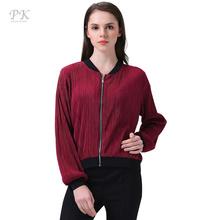 Buy PK crinkle bomber jacket women basic coats baseball stand collar women set veste casaco punk bomber jackets creased polyester for $14.99 in AliExpress store