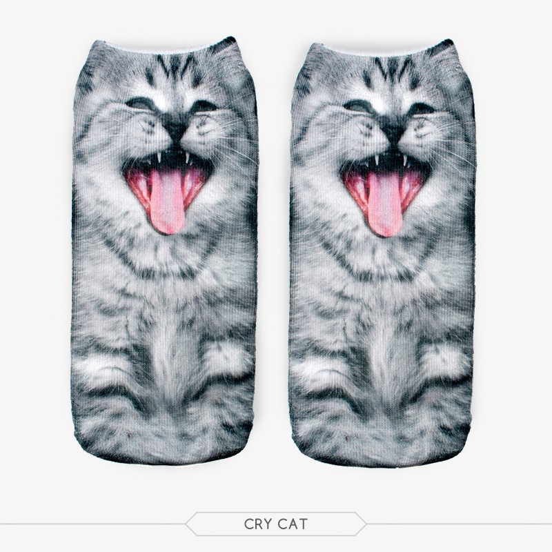 f5 pair /set Fashion 3D Cry Cat Socks For Women Men Unisex Cry Cat Charactor Free Shipping(China (Mainland))