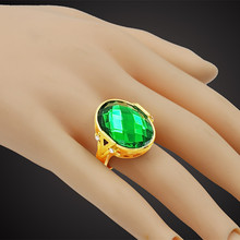 18K Real Gold Plated Candy Green Big Austrian Crystal Ring Unisex Anel Gift,New Trendy Antique Wedding Rings For Men Women Sale