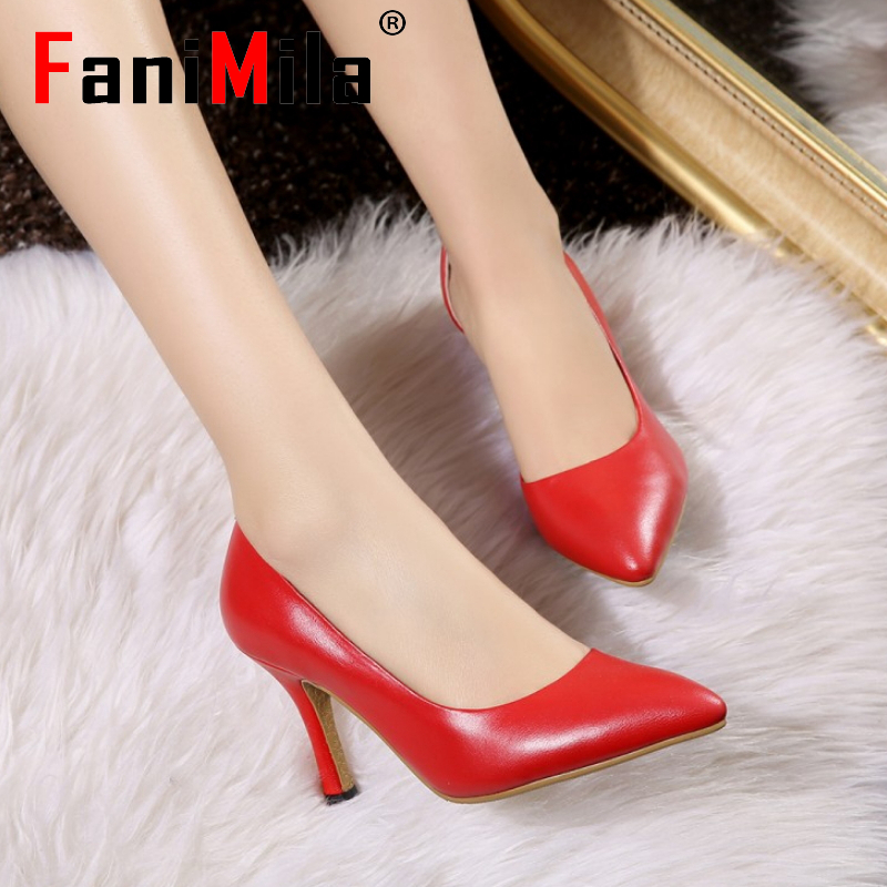 women real genuine leather wedding pointed toe high heel shoes sexy party fashion brand pumps lady heels shoes size 33-42 R7144<br><br>Aliexpress