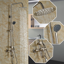 "Buy Classic Single Handle Swivel Tub Spout + Hand Shower +8"" Ran Showerhead Bathroom Shower Faucet Set Shower Mixer Taps for $106.26 in AliExpress store"