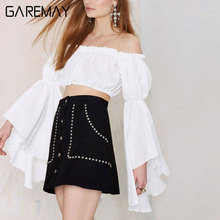 GAREMAY Crop Top Long Sleeve For Women Summer New Arrival Short Tops White Blouse Off Shoulder Sexy Midriff Women Clothing 078