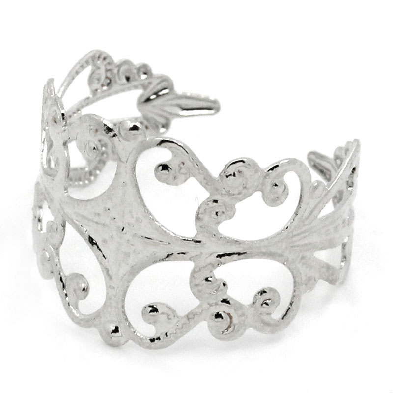 Glamorous Design 1Hot Rings Adjustable Hollow Silver Tone 19.1mm( 6/8 inch) Size 9 - Angel's Ornament Shop store