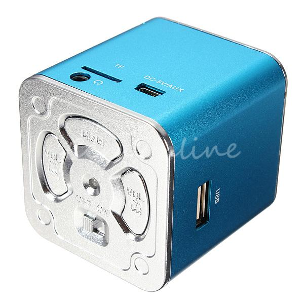 MD07U Blue USB Portable Mini Speaker FM Music Sound Box Player Amplifier Reader For iPod For iPhone For iPad GPS(China (Mainland))