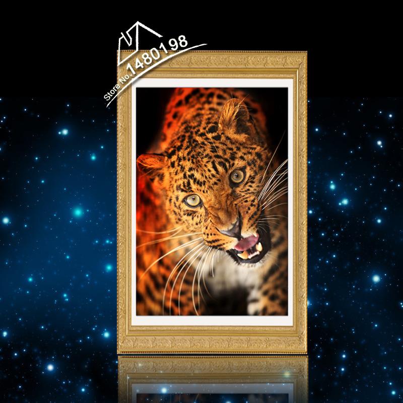 Leopard Diamond Painting DMC Beadwork Crochet Hobby Goods, 3D Pictures Design Essentials Products Needle Felting DIY Abalorios(China (Mainland))