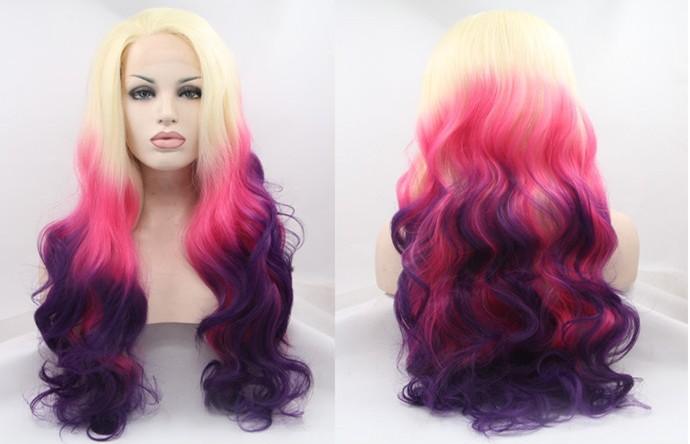 Avril wig 2015 Hot selling Body wave three tone color Pink hair Long hair Lace front wigs(China (Mainland))