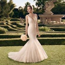 French Style V-neck Sleeveless Court Train Floor-length Beaded Appliques Wedding Dresses Elegant Bridal 2016 Mermaid(China (Mainland))