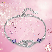 2016 Fashion 925 Sterling Silver Heart Amethyst Charm Bracelets For Women Four Leaf Clover Fine Jewelry T.J. BSW313(China (Mainland))