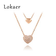 Lokaer Exquisite Double Heart 18K Rose Gold/Platinum Plated Pendants Necklaces Jewelry For Women Party Gift L2030004700(China (Mainland))