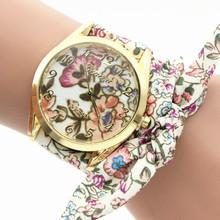 100pcs/lot 018 korea style gold case beaded strap wrap around leather watch luxury lady elegance colorful belt wristwatch(China (Mainland))