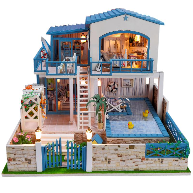 My Love From The Star Style Large DIY Doll House 3D Miniature LED light+Wood Handmade+Music Box Kits Building Model For Gift