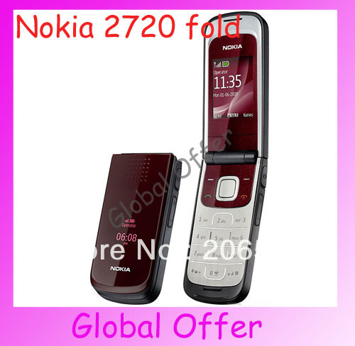 2720 Original Unlocked NOKIA 2720 fold mobile phone Bluetooth Camera FM JAVA MP3 Cheap Cell phone refurbished 1 year warranty(China (Mainland))