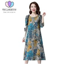 Buy TNLNZHYN 2017 Spring Autumn New Long Cotton linen Dress Female Loose Large size Long sleeve Clothing Clothes Printi Women Dress for $15.50 in AliExpress store