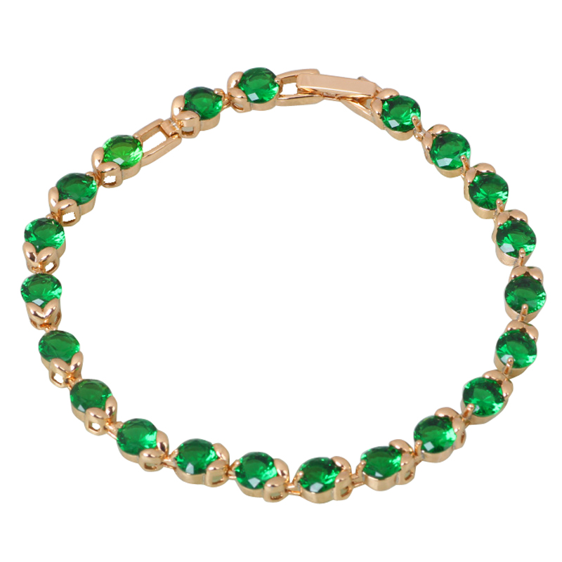 Top Quality Cute jewelry green Swiss CZ stones Cluster 18K Gold plated Bracelets &amp; bangles fashion jewelry B191<br><br>Aliexpress