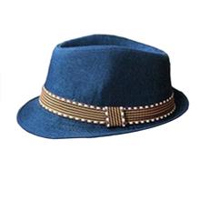 Hot Blue Kids Unisex  Summer Unisex Fedora Hat Contrast Trim Cool Jazz Hat Cute (China (Mainland))