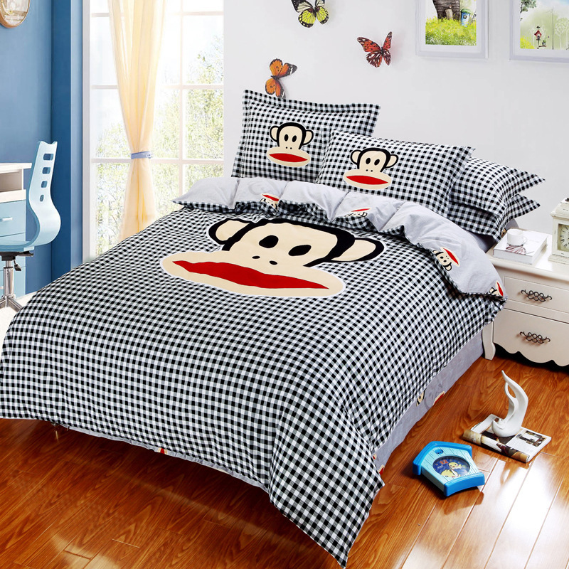 Cartoon monkey bedding set luxury sanding cotton for Luxury cotton comforter sets