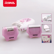Riwa brand violet color women's epilator for underarm bikini rechargeable electric shaver for lady stainless steel blade EU plug(China (Mainland))
