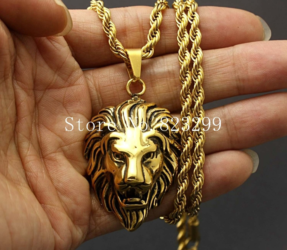 amazing new mens 316l stainless steel lion head pendant gold rope chain necklace jewelry in. Black Bedroom Furniture Sets. Home Design Ideas