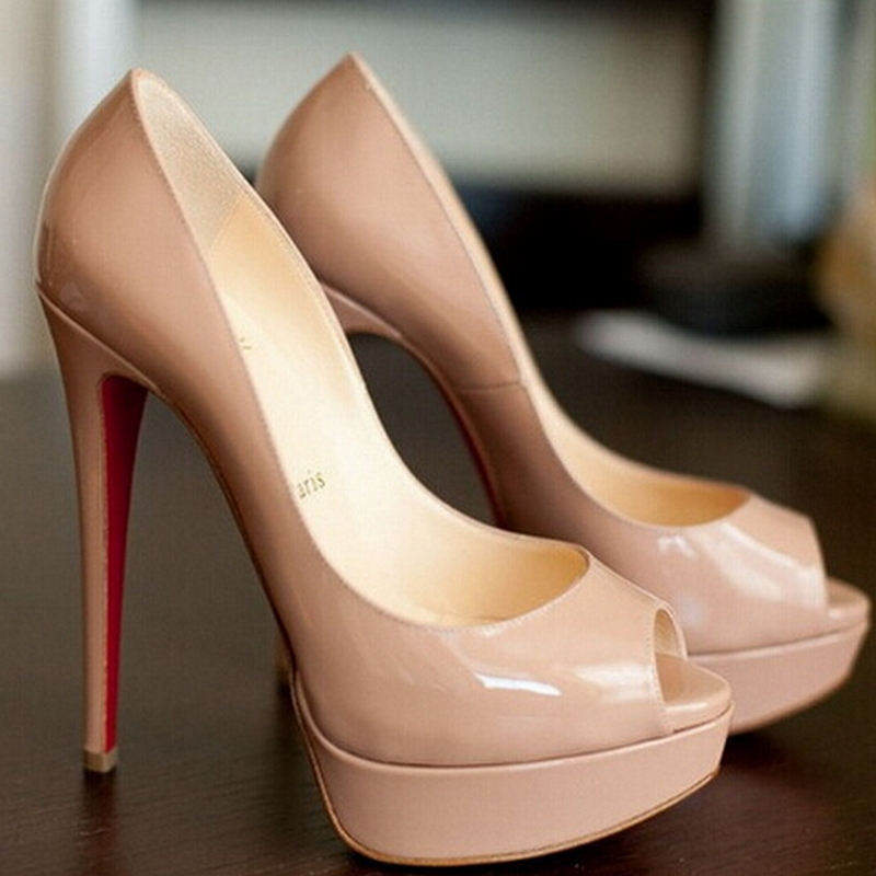 EUR size 34-45 Nude Patent Leather Pumps 140 mm Peep Toe Platform High Heels Thin Red Bottom Shoes US 3-14 - Brand store