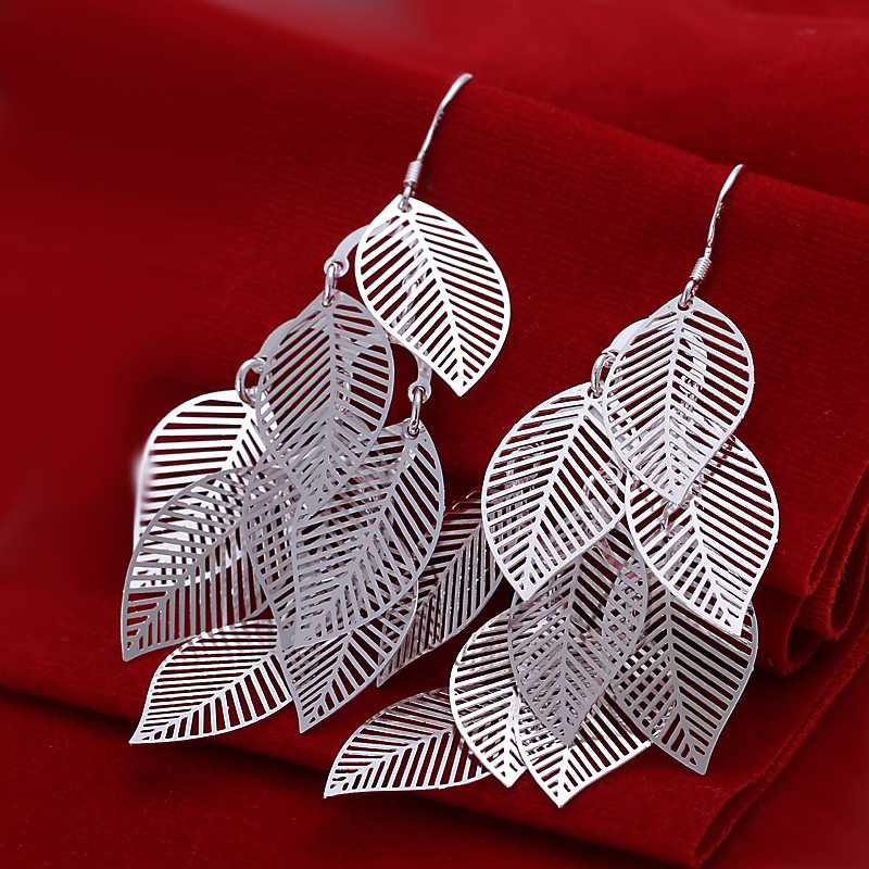 Гаджет  Free shipping 925 sterling silver jewelry earring fine polish leaf drop jewelry earring wholesale and retail SMTE214 None Ювелирные изделия и часы