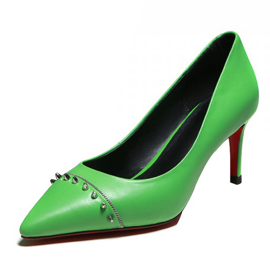 2016 Sheepskin shoes women Rivets sexy Pumps green / black Pointed Toe Thin High Heels Slip-On party shoes for women<br><br>Aliexpress
