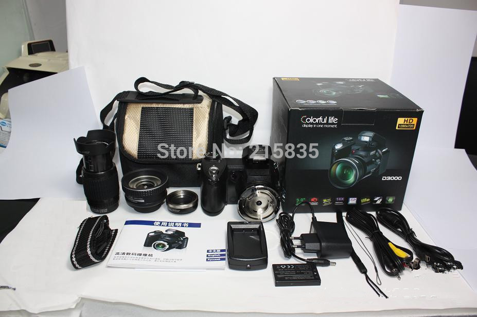 New types D3000 HD Digital SLR Camera Photos 3 0 LTPS Screen 16 Times Telephoto Lens