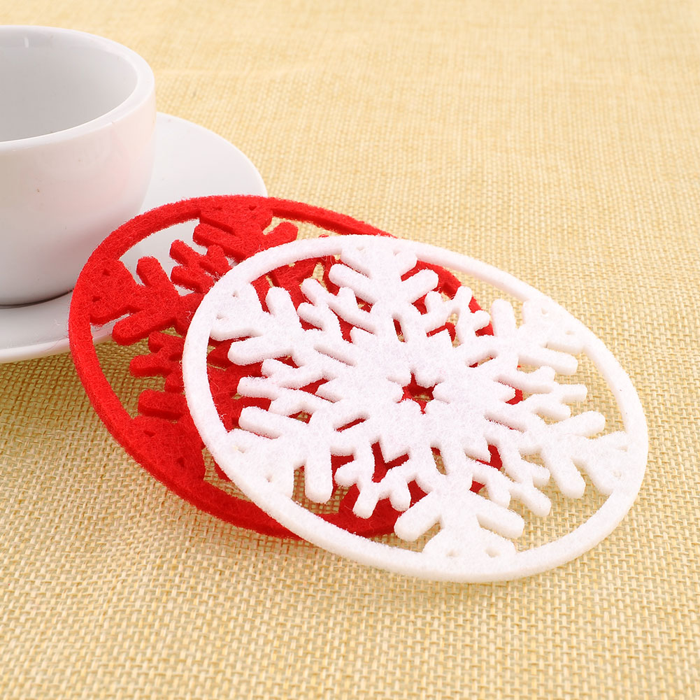 2Pcs/lot Cup Pad Snowflake Insulation Coasters Mat Christmas Table Coffee Drinks Heat Pad Christmas products Kitchen Accessories(China (Mainland))