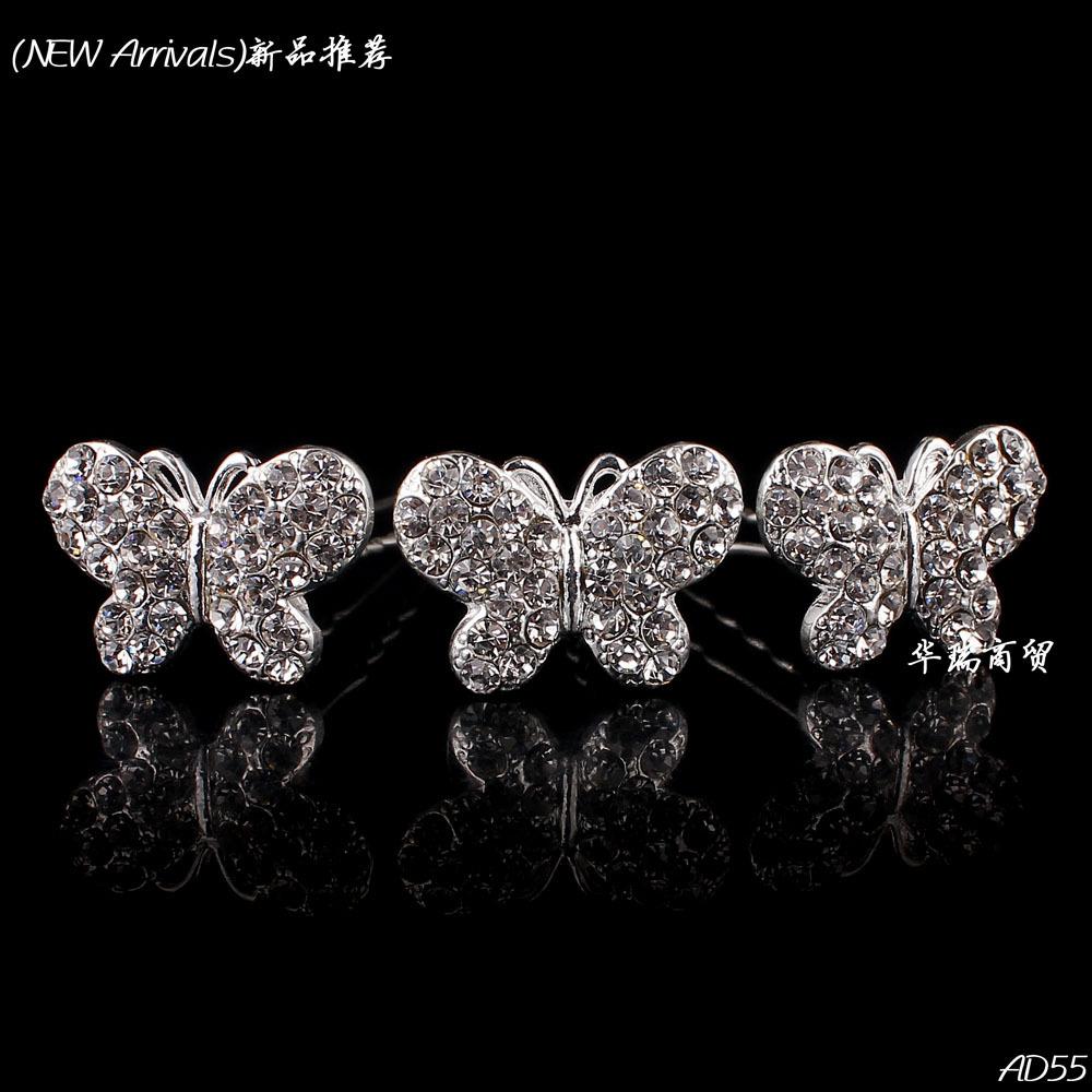 Free Shipping-Wholesale 12pcs Lot Crystal Rhinestone Butterfly Fashion Women Wedding Bridal Girl Hair Pin Clips Hair Jewelry(China (Mainland))
